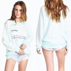 Wildfox Kim's Monday Cry Eat Sleep Cropped Sweater
